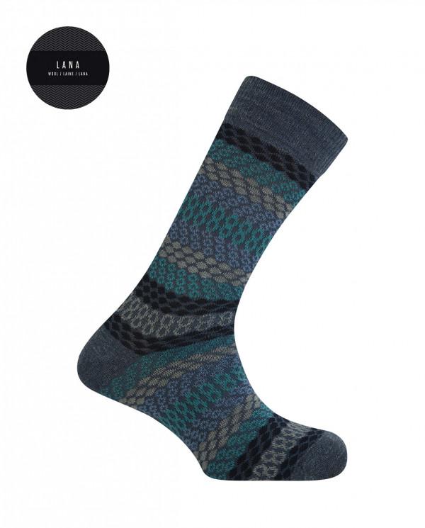Cotton/wool short socks - borders Color Blue - 1