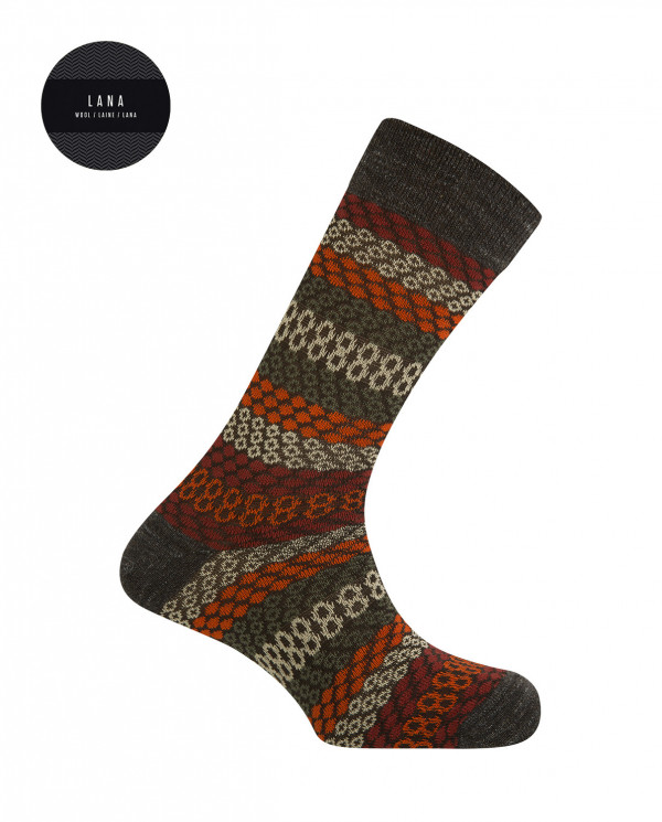 Cotton/wool short socks - borders Color Brown - 1