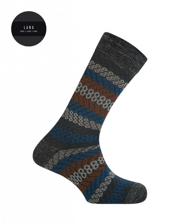 Cotton/wool short socks - borders Color Grey - 1