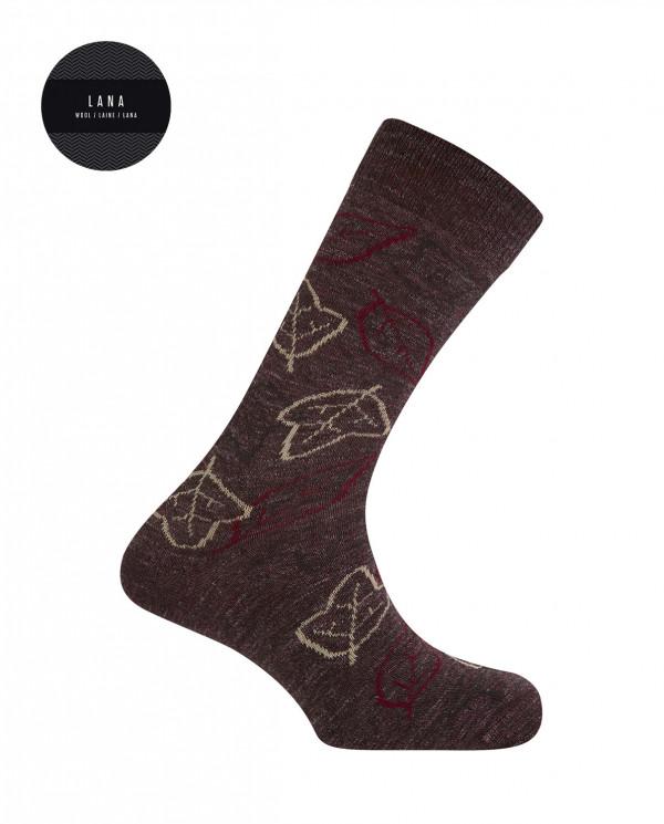 Cotton/wool short socks - autumn leaves Color Burgundy - 1