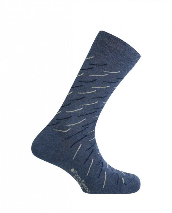 Chaussettes courtes en viscose / coton - rayures courtes Couleur Bleu - 1