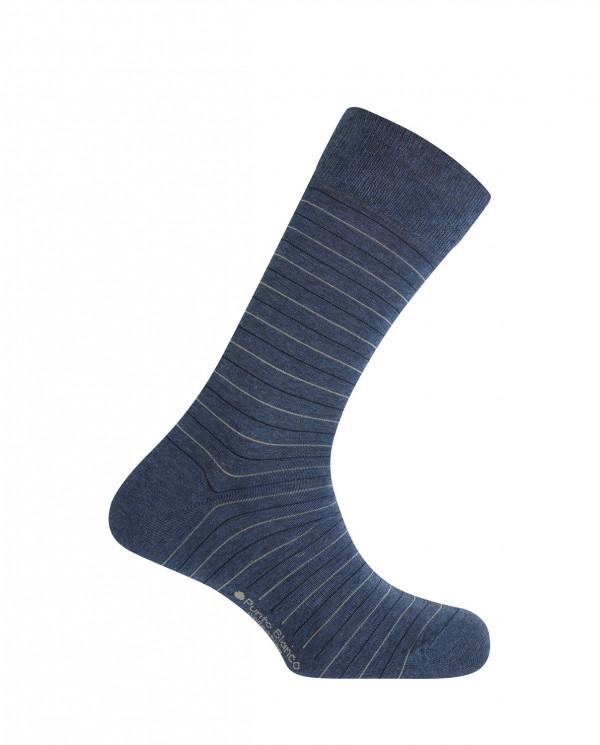 Short viscose/cotton socks - thin stripes Color Blue - 1