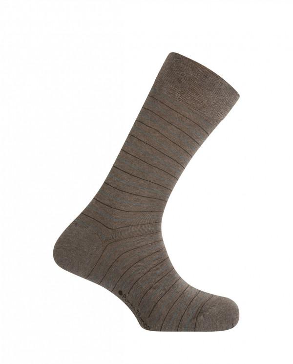 Short viscose/cotton socks - thin stripes Color Brown - 1
