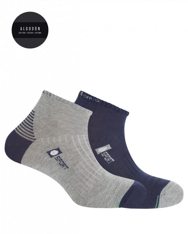 Pack de 2 chaussettes en coton sportives- demi unie Couleur Assorti - 1