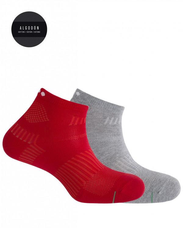 Pack de 2 chaussettes en coton sportives - demi unie Couleur Assorti - 1