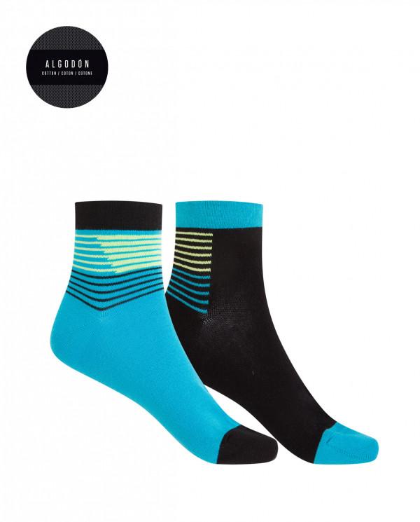 Lot de 2 chaussettes de sport en coton - rayures Couleur Assorti - 1