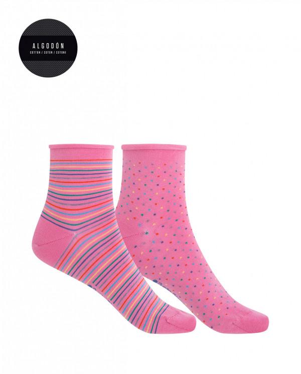 Lot de 2 chaussettes en coton merc. -points-rayures, roulés Couleur Rose - 1