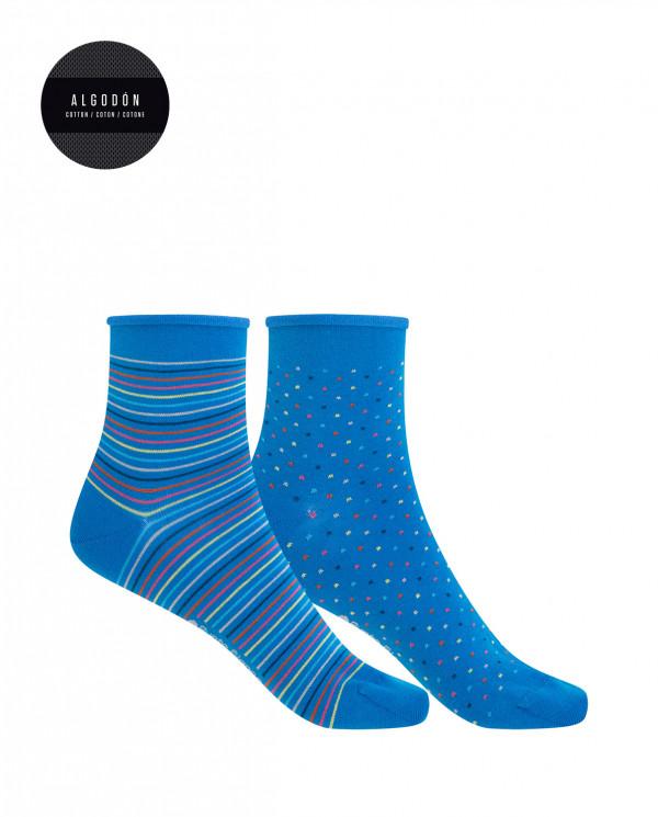 Lot de 2 chaussettes en coton merc. -points-rayures, roulés Couleur Bleu marine - 1