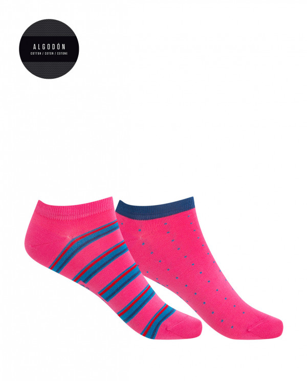 2 pack of mercerized cotton socks - dots and stripes Color Fuchsia - 1