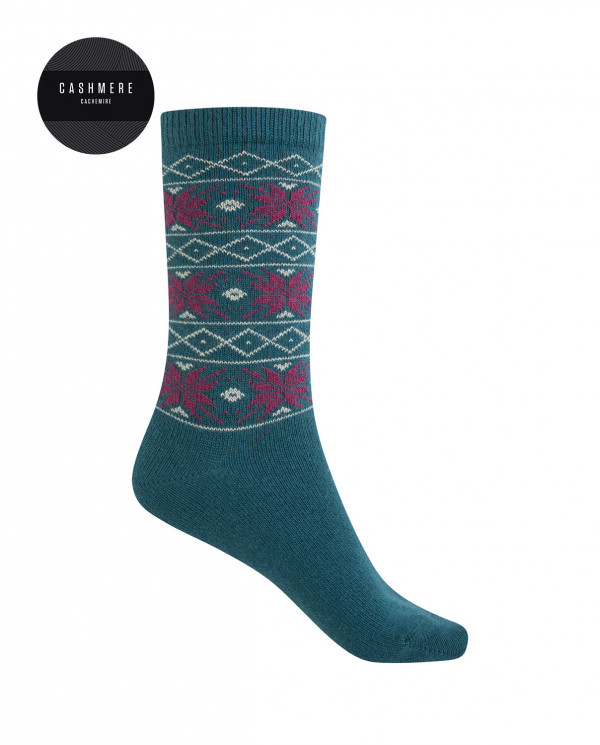 Short cashmere/wool socks - snow flower border Color Blue - 1