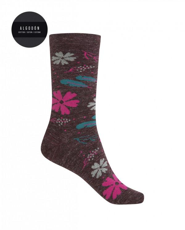 Short cotton/wool socks - floral Color Burgundy - 1
