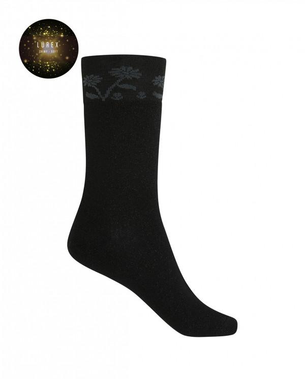 Short viscose/cotton socks - flowers Color Black - 1
