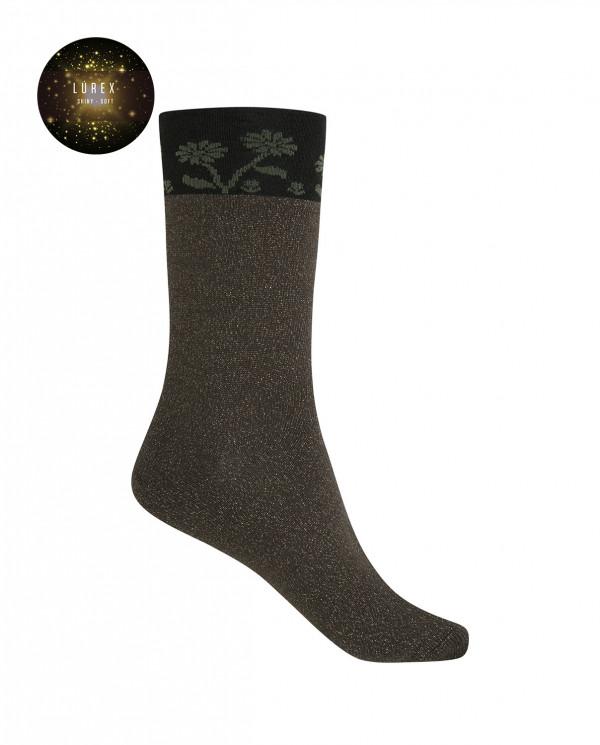 Short viscose/cotton socks - flowers Color Green - 1