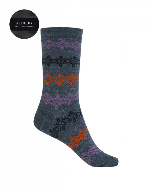 Short cotton/wool socks - border Color Blue - 1