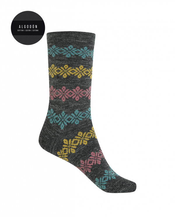 Short cotton/wool socks - border Color Grey - 1