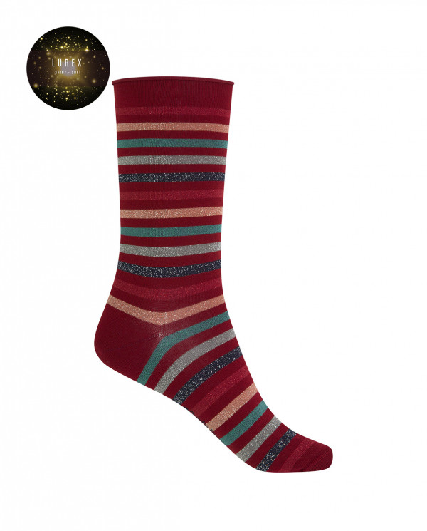 "Short cotton/lurex socks - stripes ""rolled cuff"" Color Burgundy - 1"