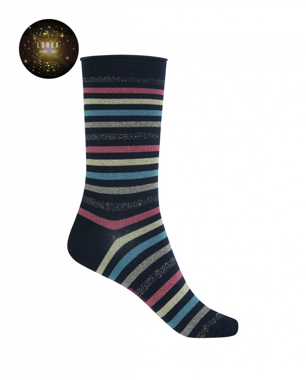 """Short cotton/lurex socks - stripes """"rolled cuff"""" Color Navy - 1"""