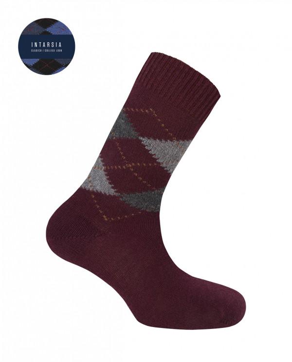 Lambswool socks - diamonds Color Burgundy - 1