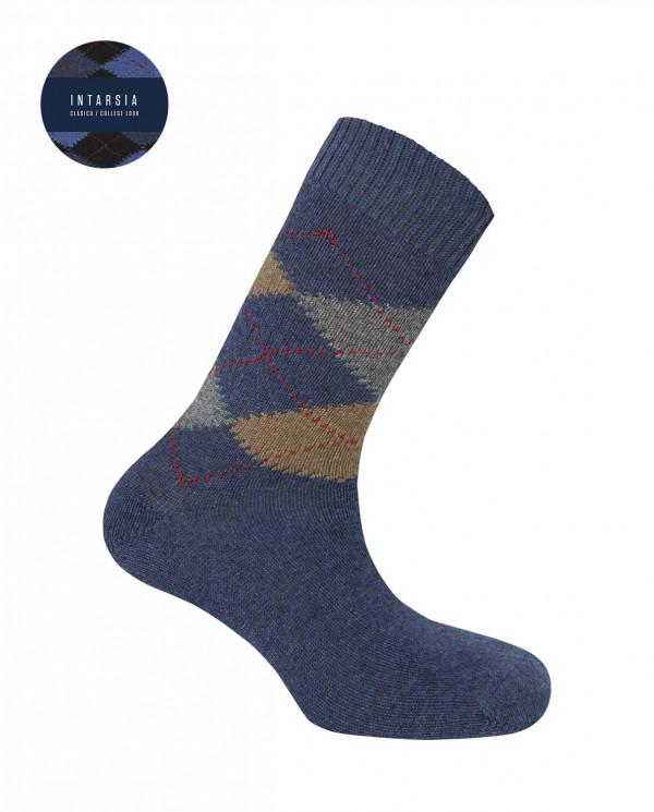 Lambswool socks - diamonds Color Blue - 1
