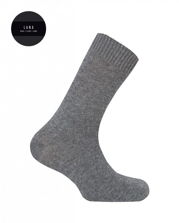 Lambswool socks - plain Color Grey - 1