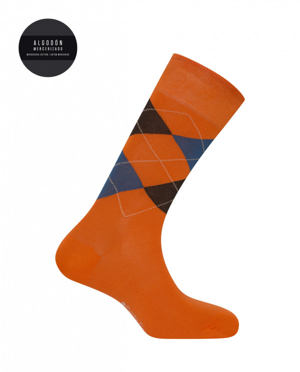 Mercerised cotton socks - diamonds Color Orange - 1