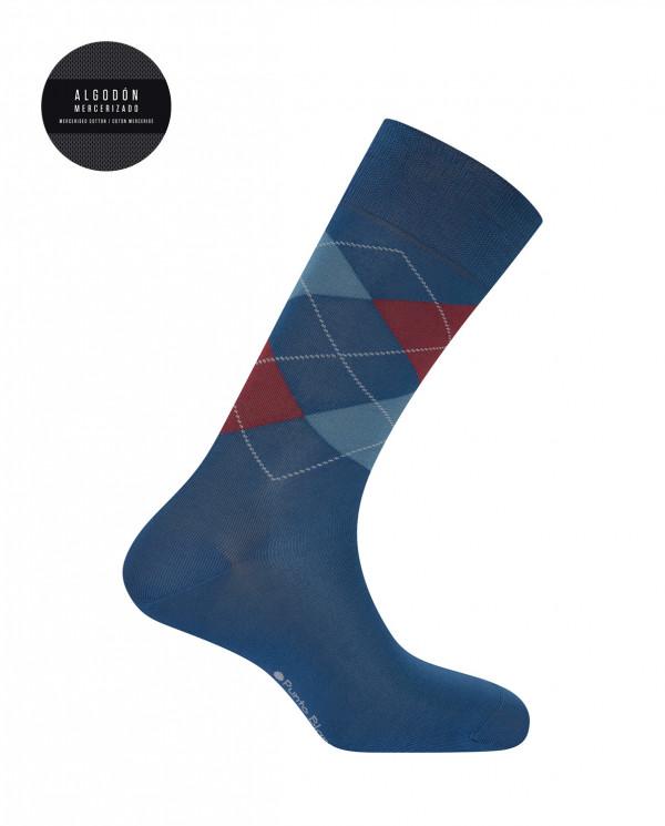 Mercerised cotton socks - diamonds Color Blue - 1