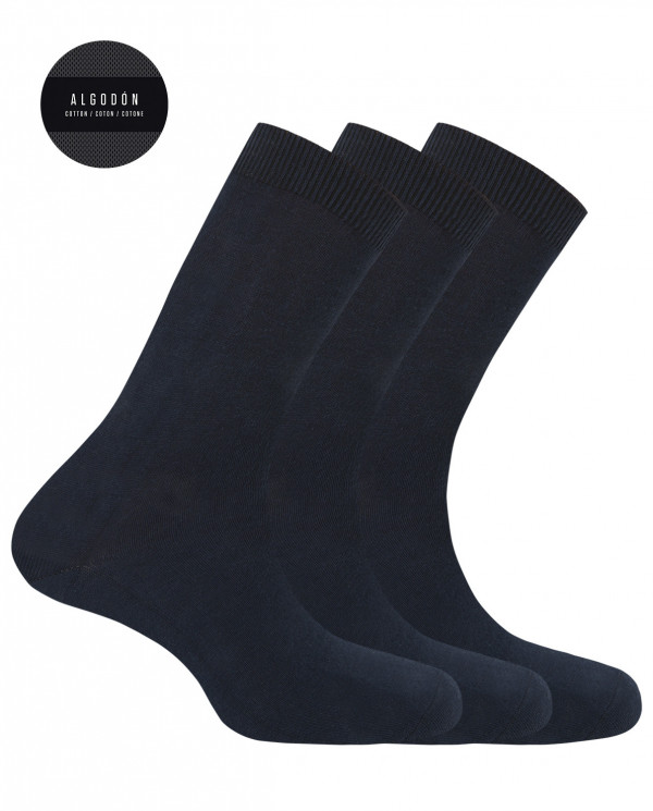 "Pack de 3 calcetines de algodón - liso ""Basix"" Color Marino - 1"