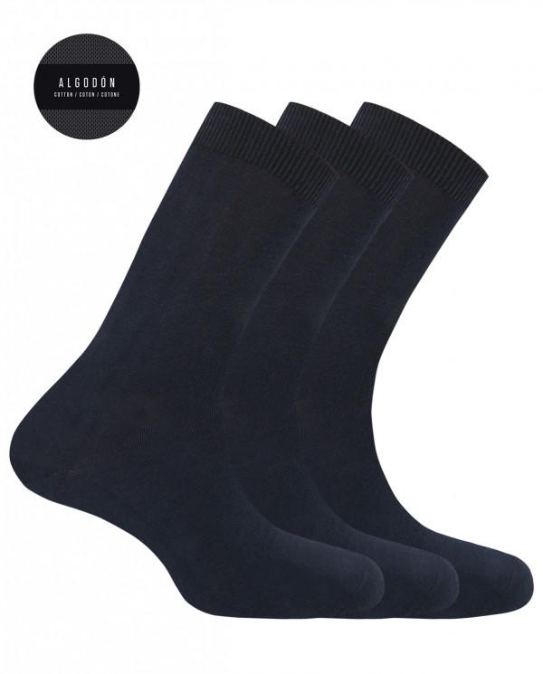 """Pack de 3 chaussettes en coton - unie """"Basix"""" Couleur Bleu marine - 1"""