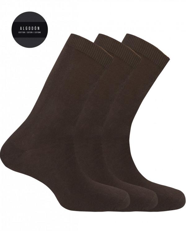 "Pack de 3 calcetines de algodón - liso ""Basix"" Color MarrÓn - 1"
