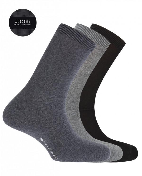 """Pack de 3 chaussettes en coton - unie """"Basix"""" Couleur Assorti - 1"""
