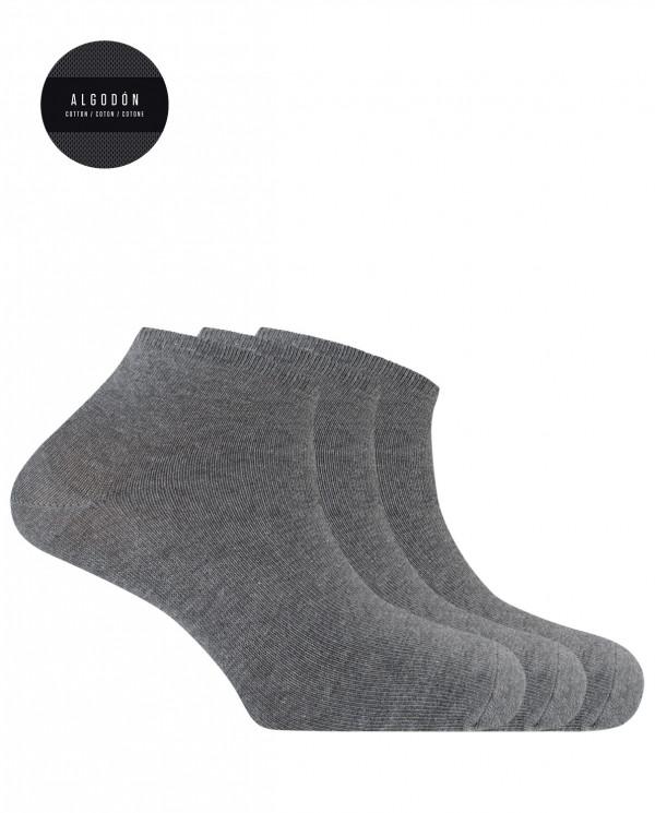 """3 pack cotton socks- plain """"Basix"""" Color Grey - 1"""